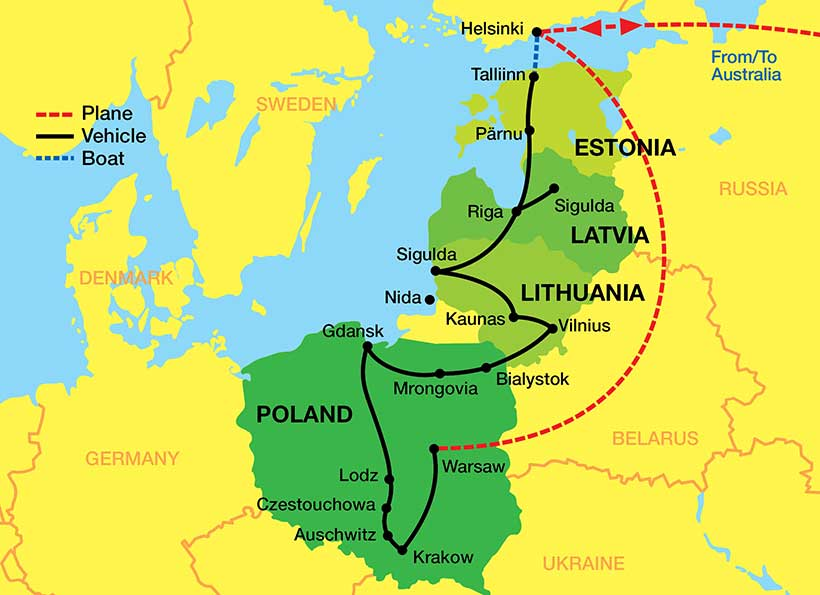 Baltics-Poland-Tour-Map