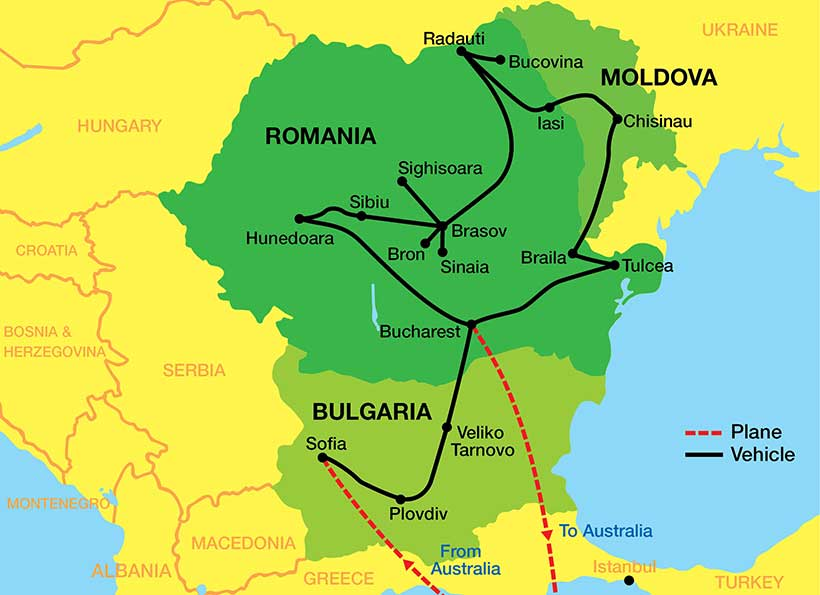 Bulgaria-Romania-Moldova-tour-Map