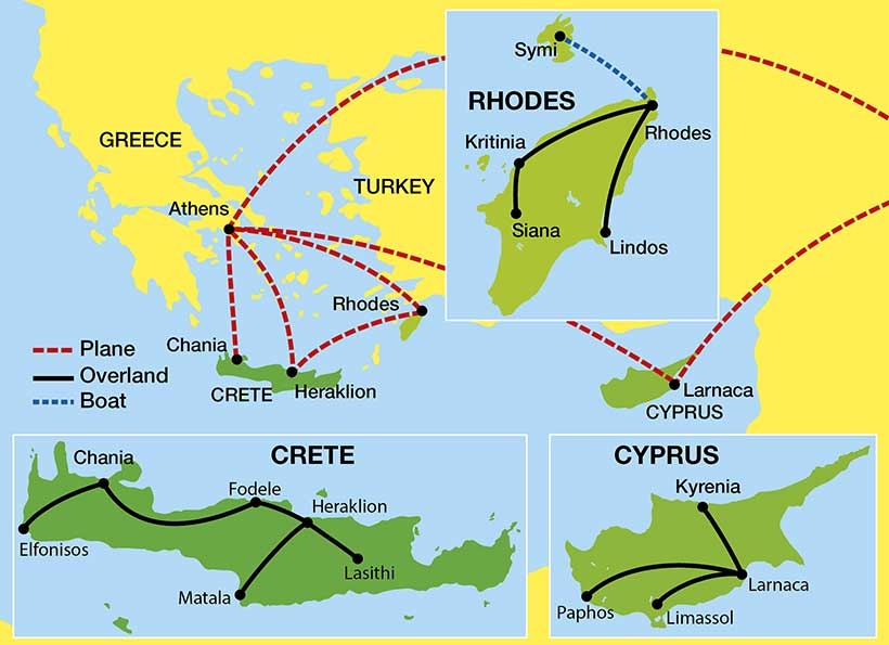 Crete-Cyprus-Rhodes-tour-Map