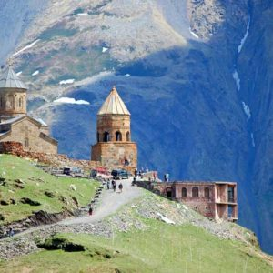Gergeti Trinity Church located under the Mount Kazbek