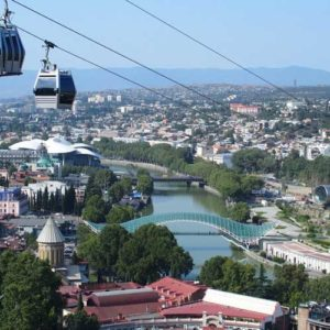 panoramic view of the Tbilisi from a cable car