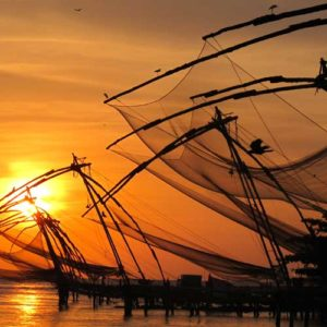 Fishing nets at sunset in Fort Kochin