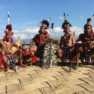 Men dressed in tribal clothing for Nagaland festival
