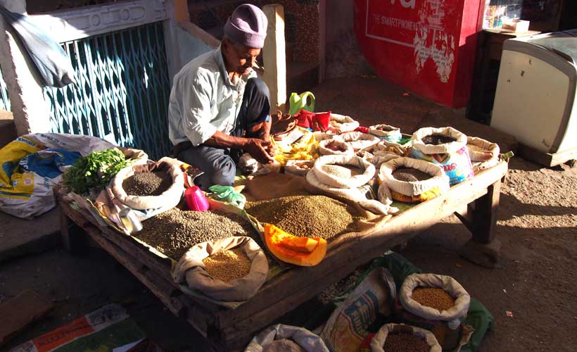 Man selling his spices in Assam