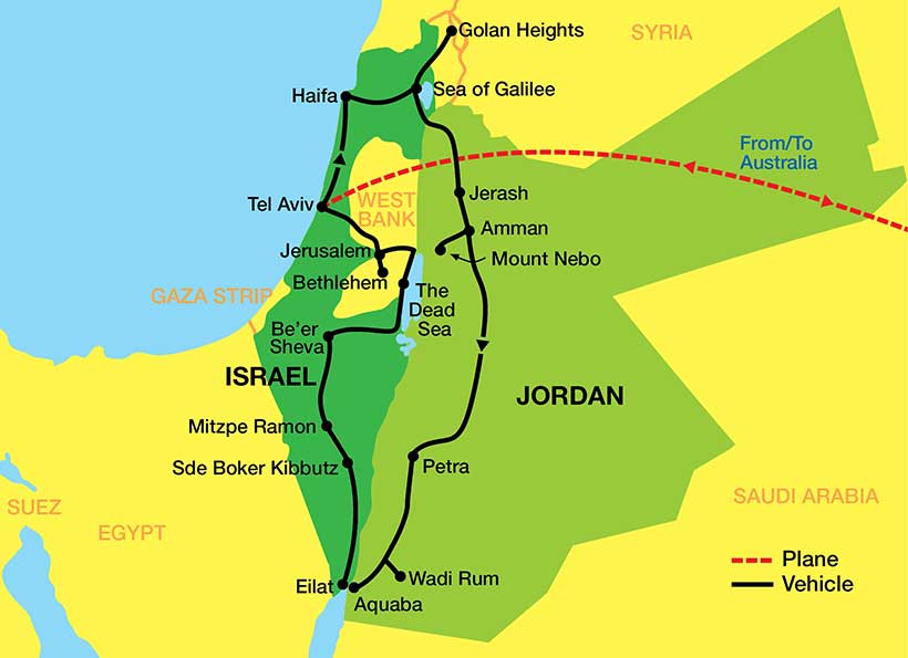 Israel-Jordan-tour-Map