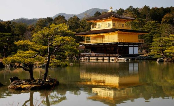 Golden temple with shimmering reflection across a pond