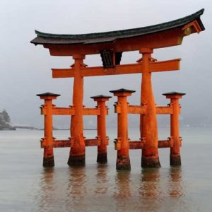 Red shrine and floating torii gate