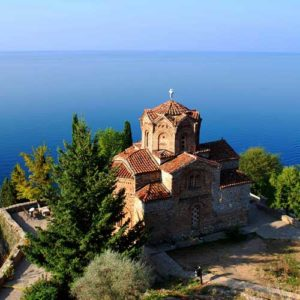 Old church perched above lake Ohrid in Montenegro
