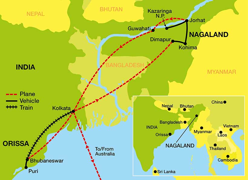 Tour Map of Nagaland and North East India