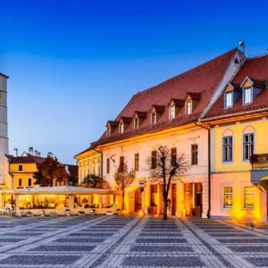 Buildings in the grand square of Sibiu in Romania