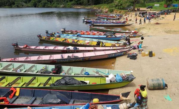 Colour boats on the Suriname River