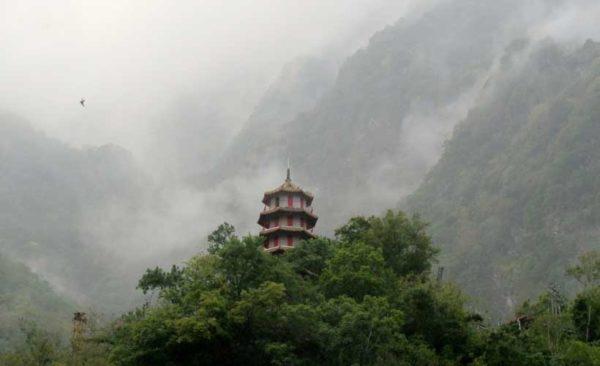 Taiwan-misty-temple-on-mountain