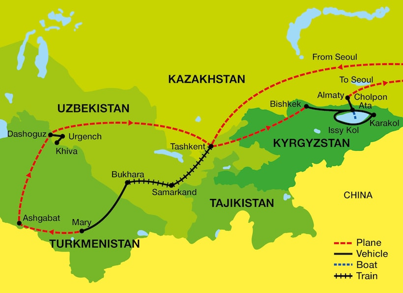 Tour map of The Stans of Central Asia