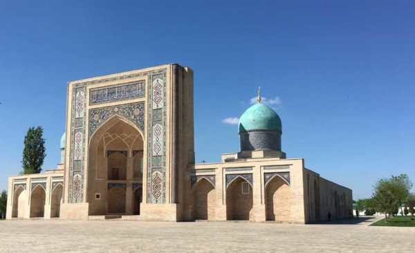 Turquoise blue domes on many buildings in Uzbekistan