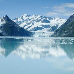 Prince William Sound glacial lake with reflection of mountains
