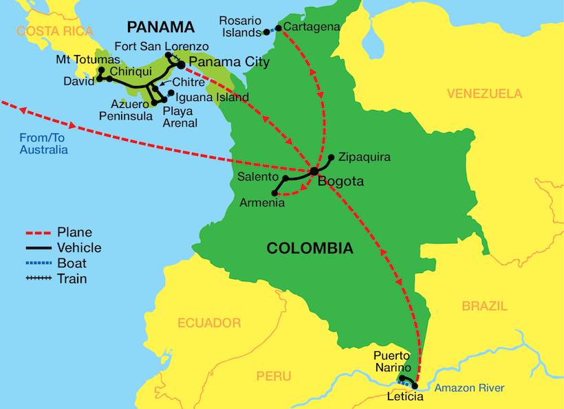 Tour map Colombia and Panama