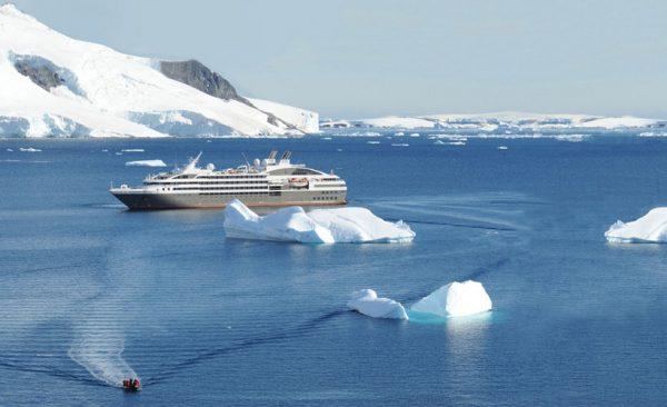 Antarctica ship and zodiac