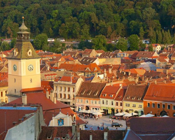 Brasov-Romania-square-at-sunset