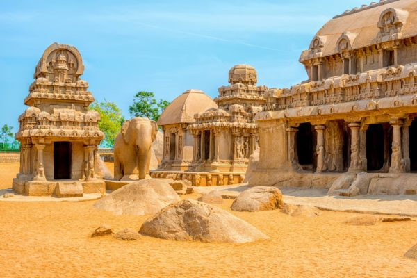 Ancient Hindu monolithic rock-cut architecture at Mahabalipuram