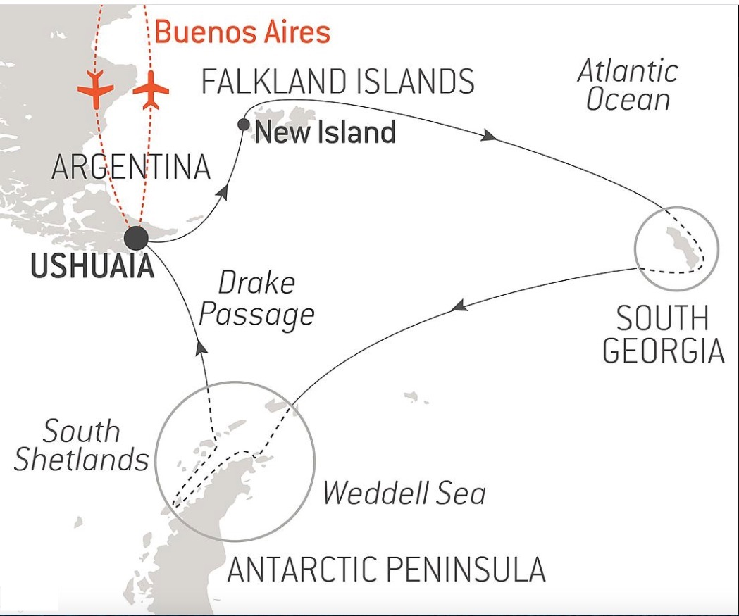 Map of Antarctica Expedition