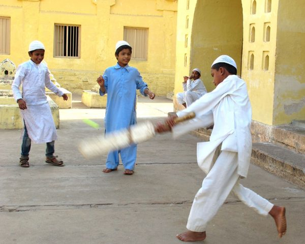Playing-cricket-in-the-square-Southern-India