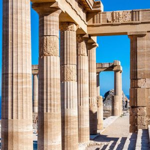 Roman columns in Lindos Rhodes