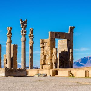 Ancient columns at Persepolis in Iran