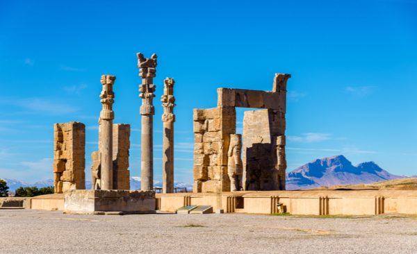 Ancient columns at Persepolis in Iran