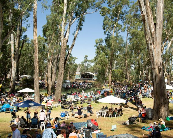 Riverboat music festival on the banks of the Murray