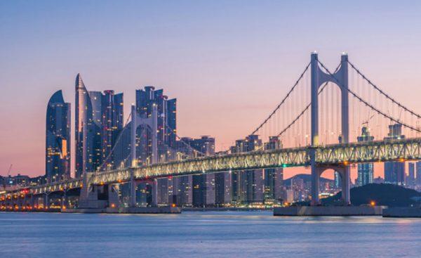 Gwangan Bridge at sunrise, Busan City, South Korea